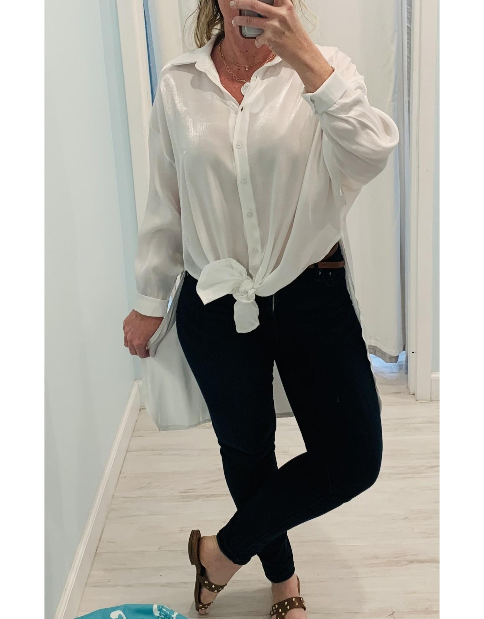 White Shimmer Hi-Low Shirt