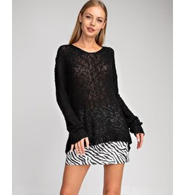Glam Black Remy Sheer Sweater