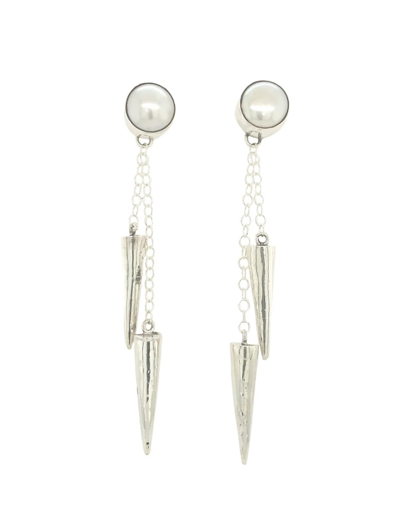 Balaam Pearl Double Spike Drop Earrings