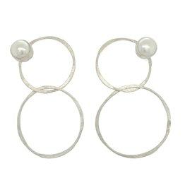 Balaam Sterling Pearl Double Circle Earrings