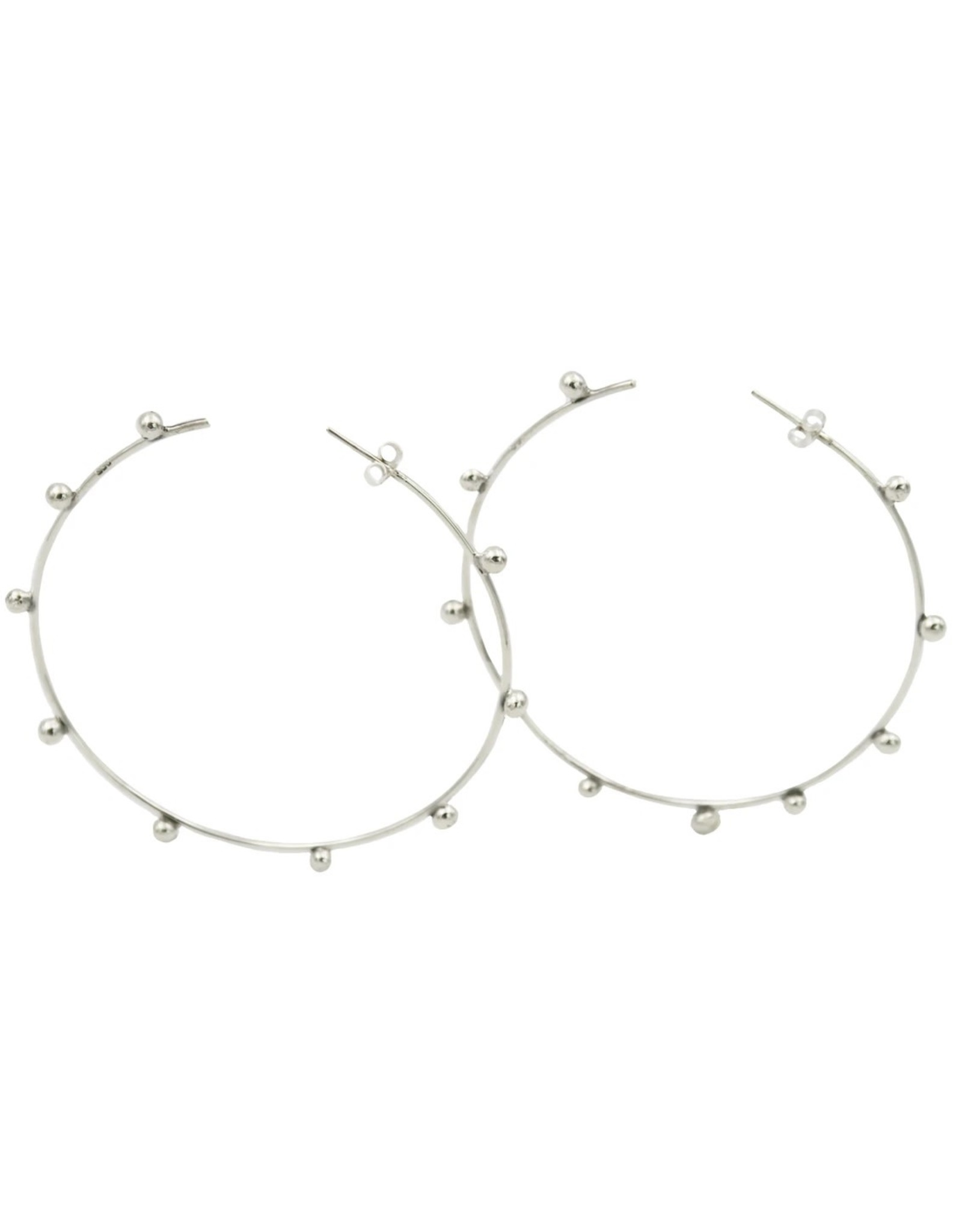 Balaam Sterling 70mm Beaded Hoops