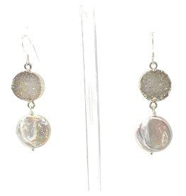 Large Lustre Coin Pearl & Druzy Earrings