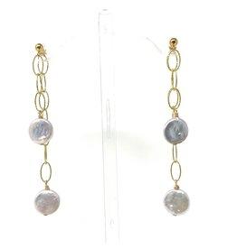 GF Coin Pearl Double Chain Earrings