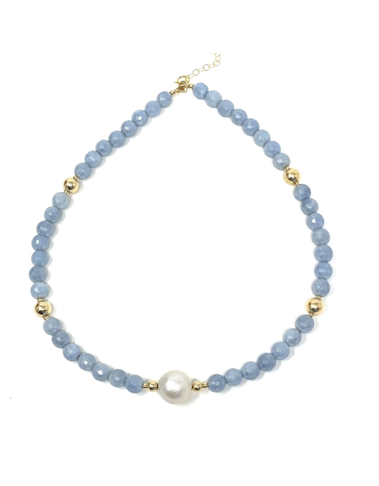 Angelite & Baroque Pearl Necklace