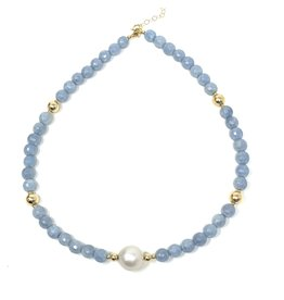 Angelite & Baroque Pearl Necklace