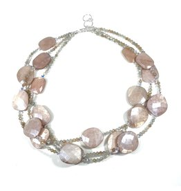Peach Moonstone Triple Strand