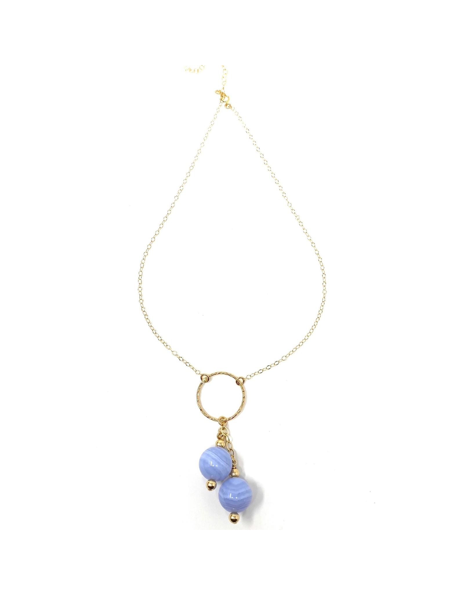 GF Blue Lace Agate Drop Necklace