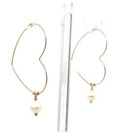GF Heart Coin Pearl Hoop Earrings