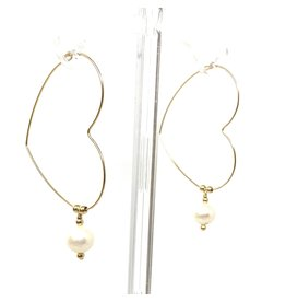 GF Heart Pearl Hoop Earrings