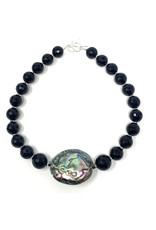 Onyx & Abalone Silver Necklace