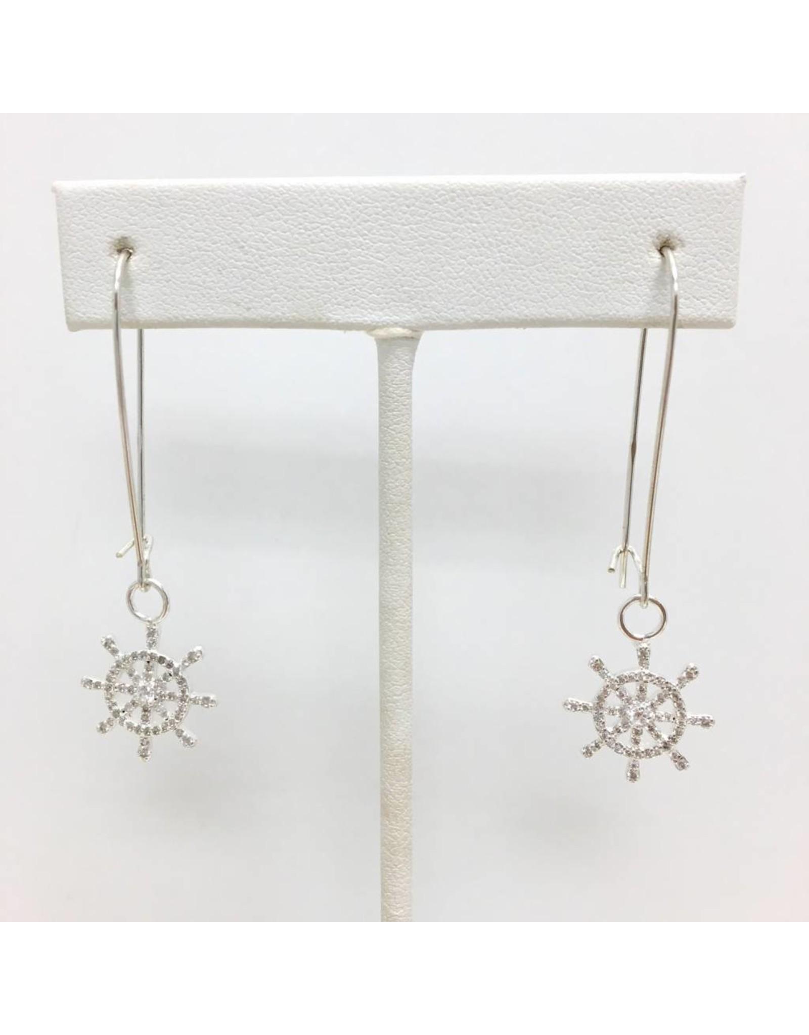 Sterling CZ Boat Wheel Earrings Silver