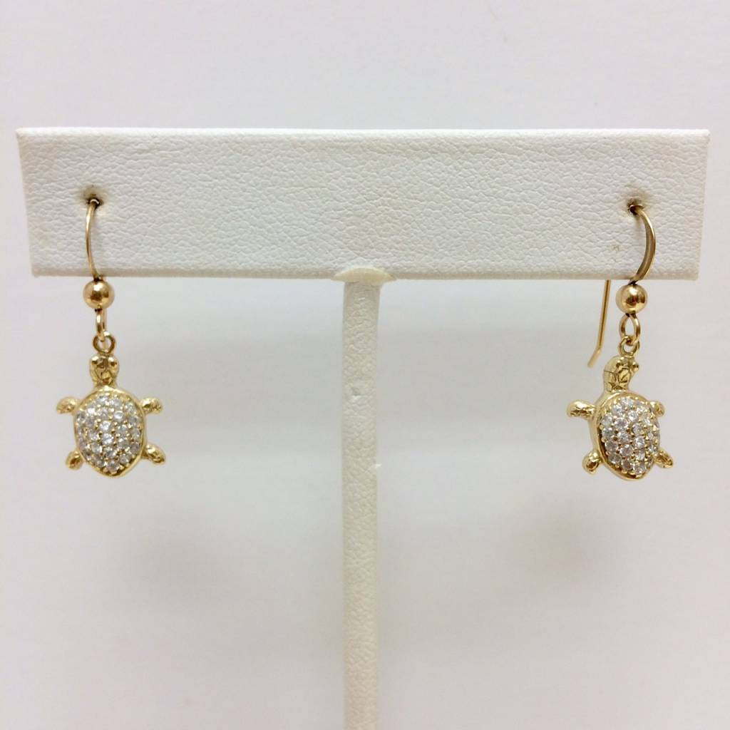 Gold Filled CZ Turtle Earrings
