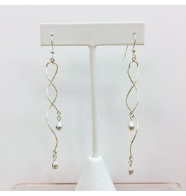 Sterling Spiral Earrings with Silver Teardrops (Long)