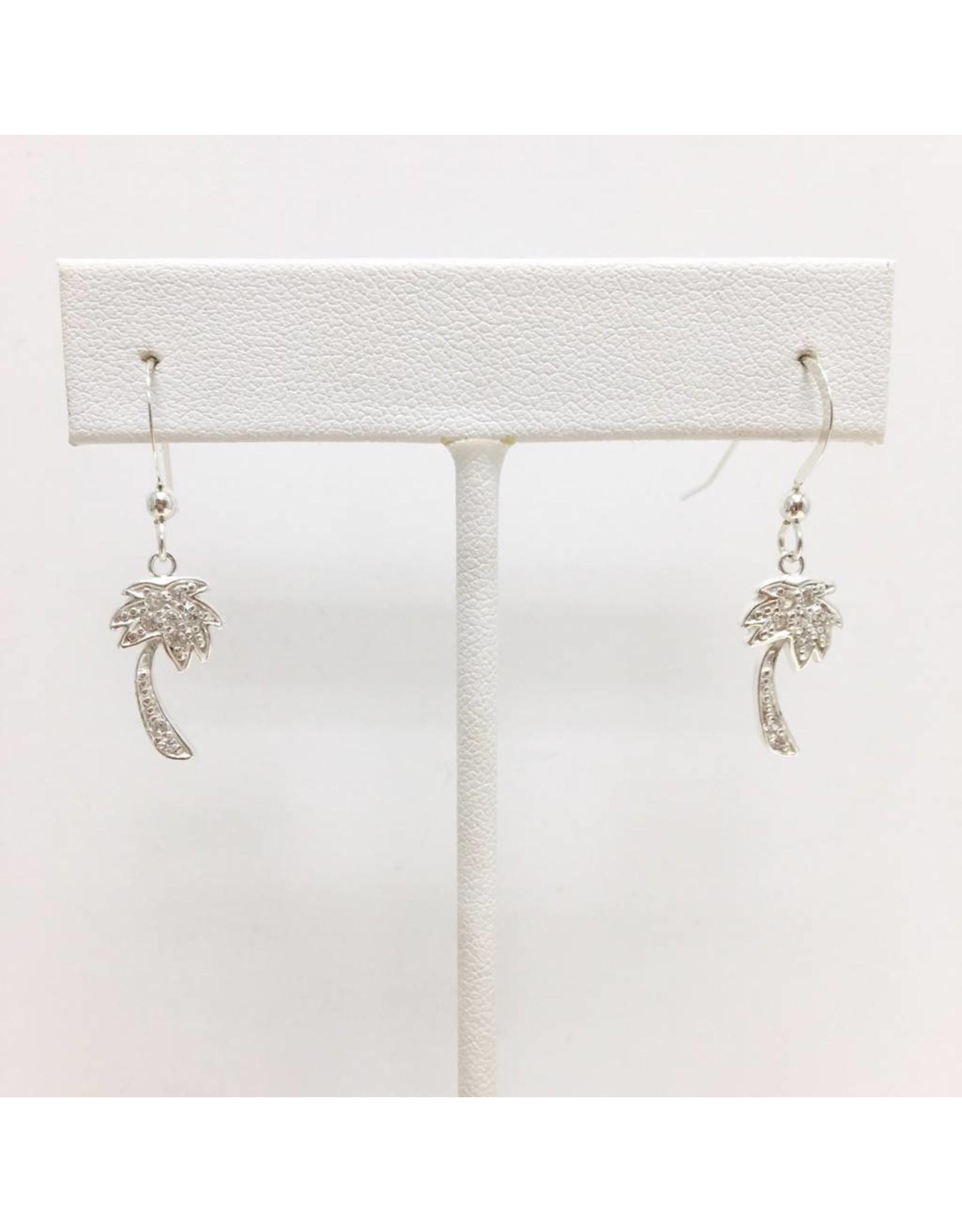 Sterling CZ Palm Tree Earrings