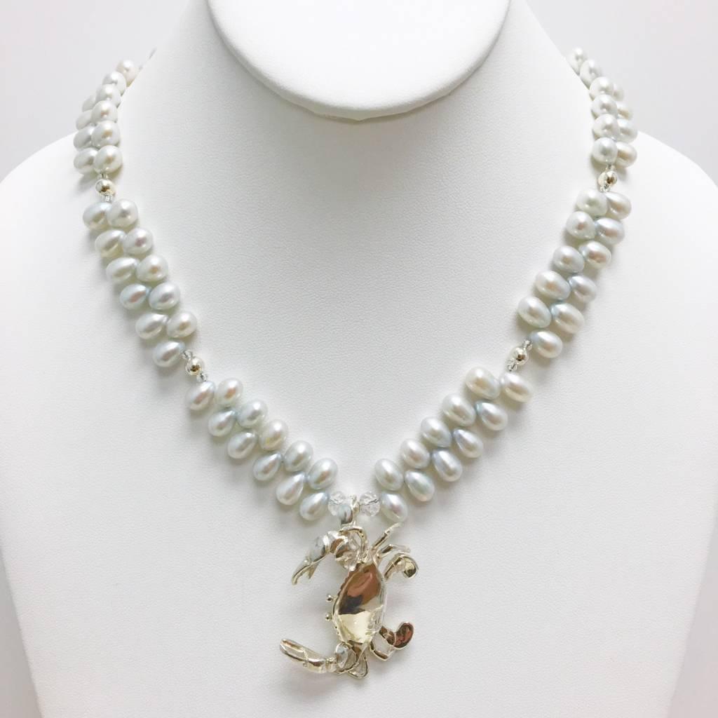 Grey Potato Pearl Vine Necklace
