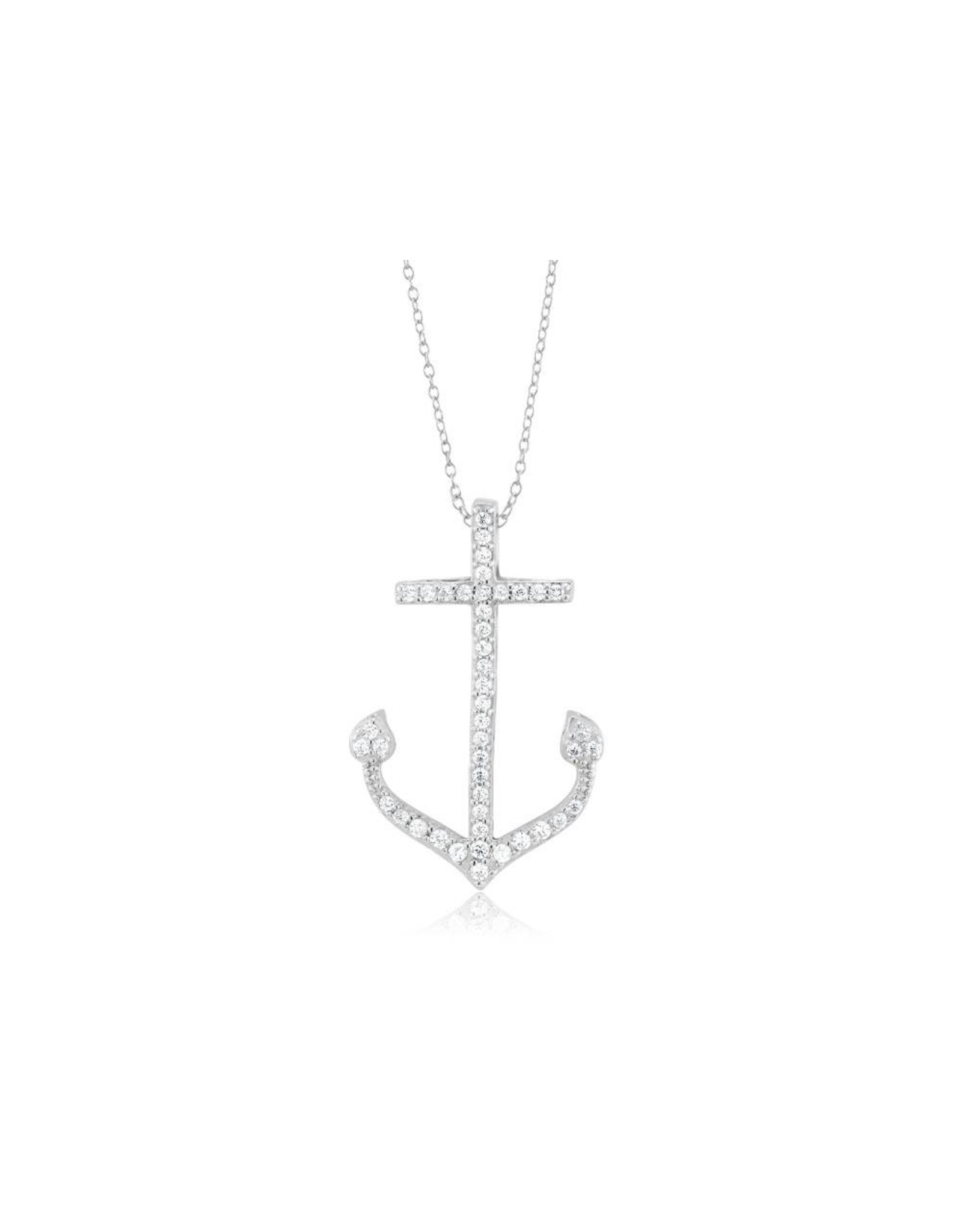 Anchor - Large CZ Silver
