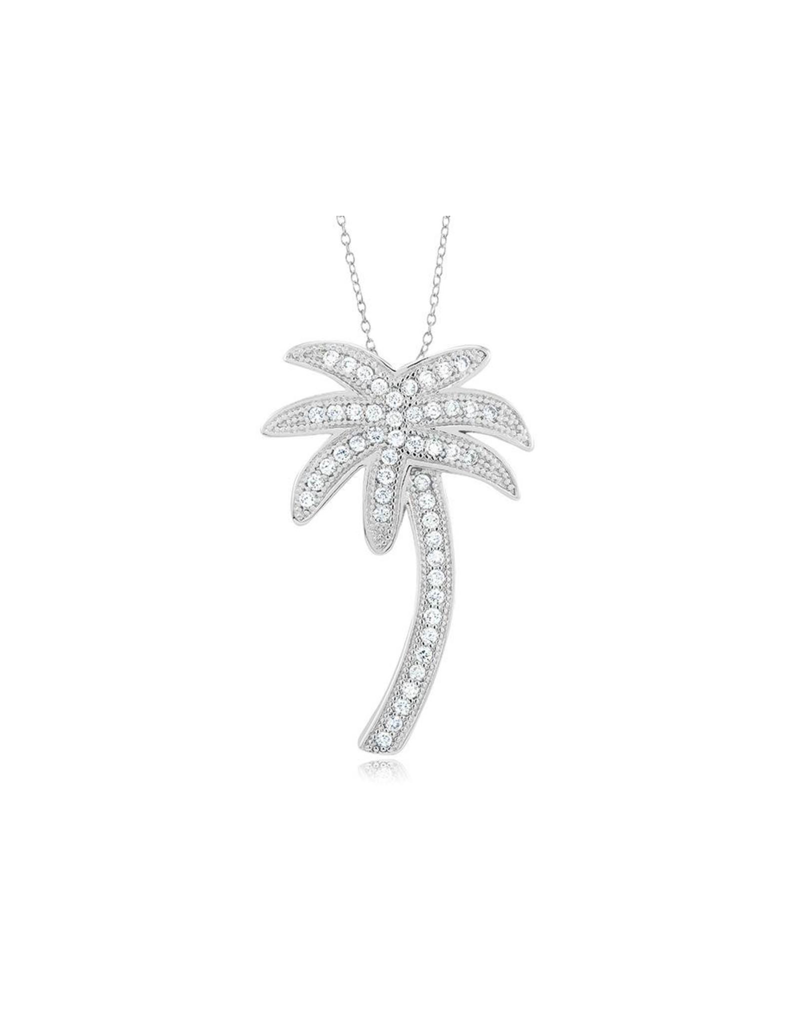 Palm Tree - Large CZ Silver
