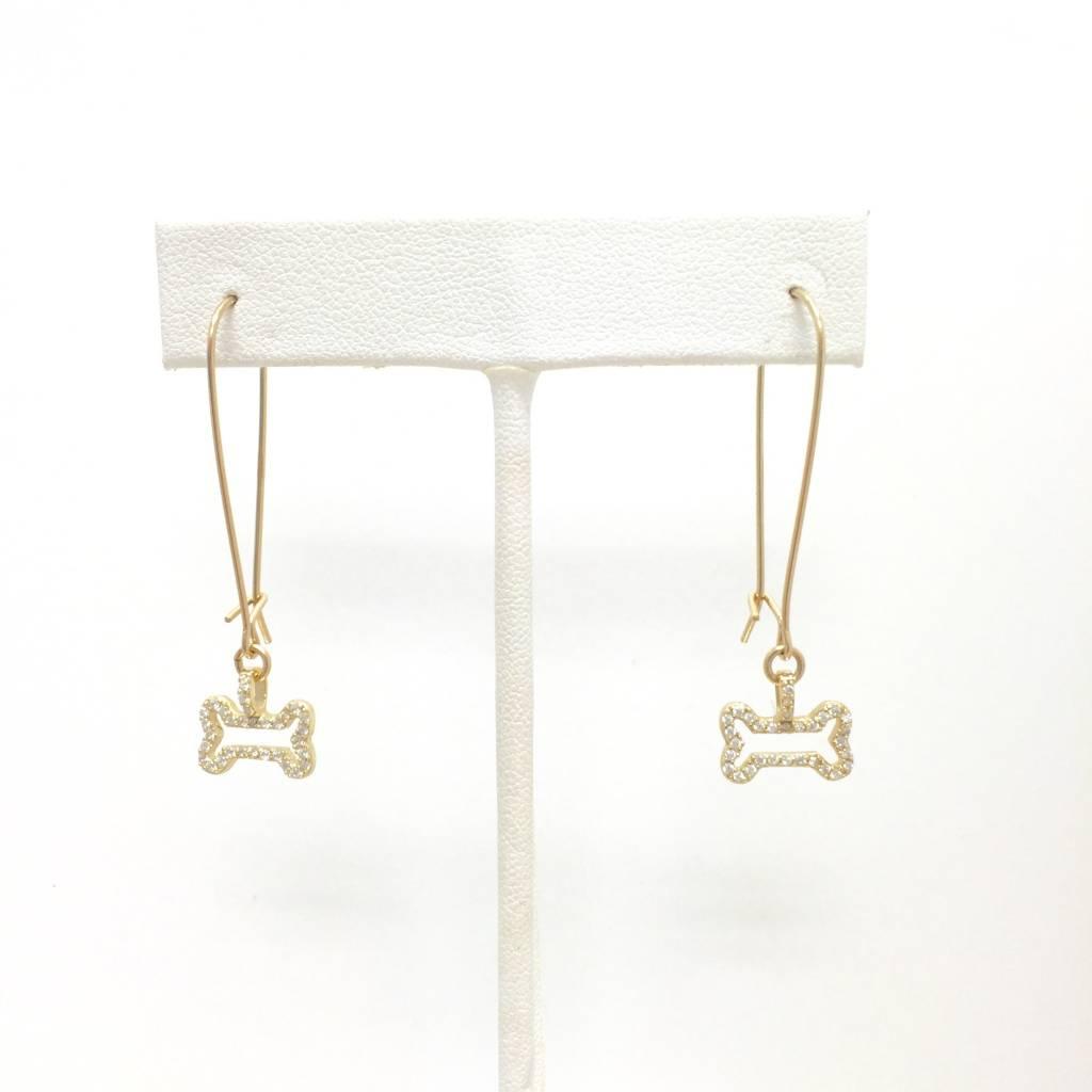 CZ Gold Filled Hollow Dog Bone Earrings