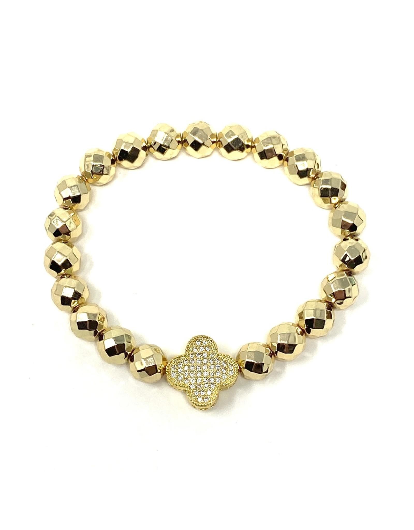 GD Hematite & Vermil CZ Clover Bracelet
