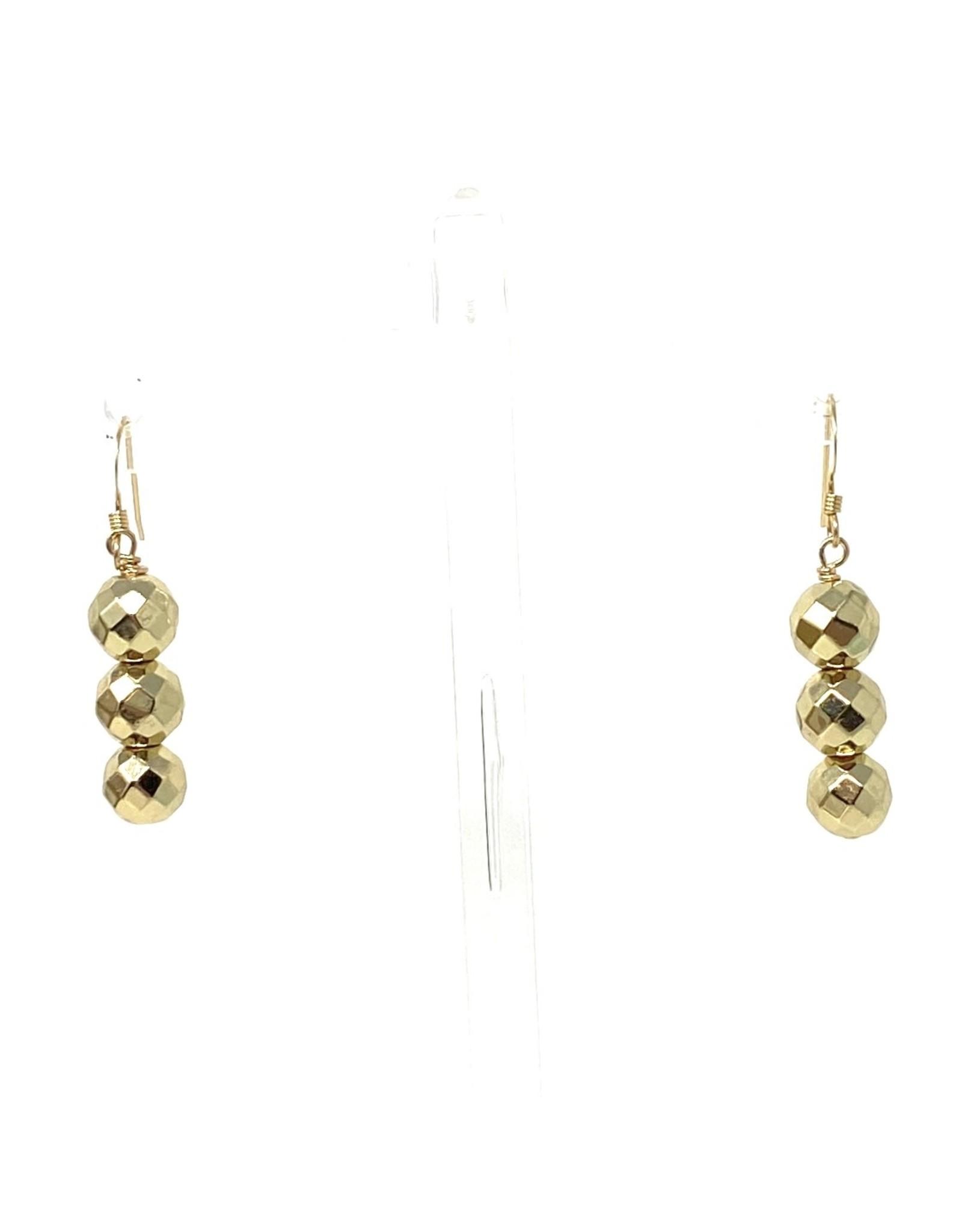 Triple Gold Hematite Earrings