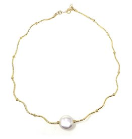 Gold Filled Bar & Coin Pearl Necklace