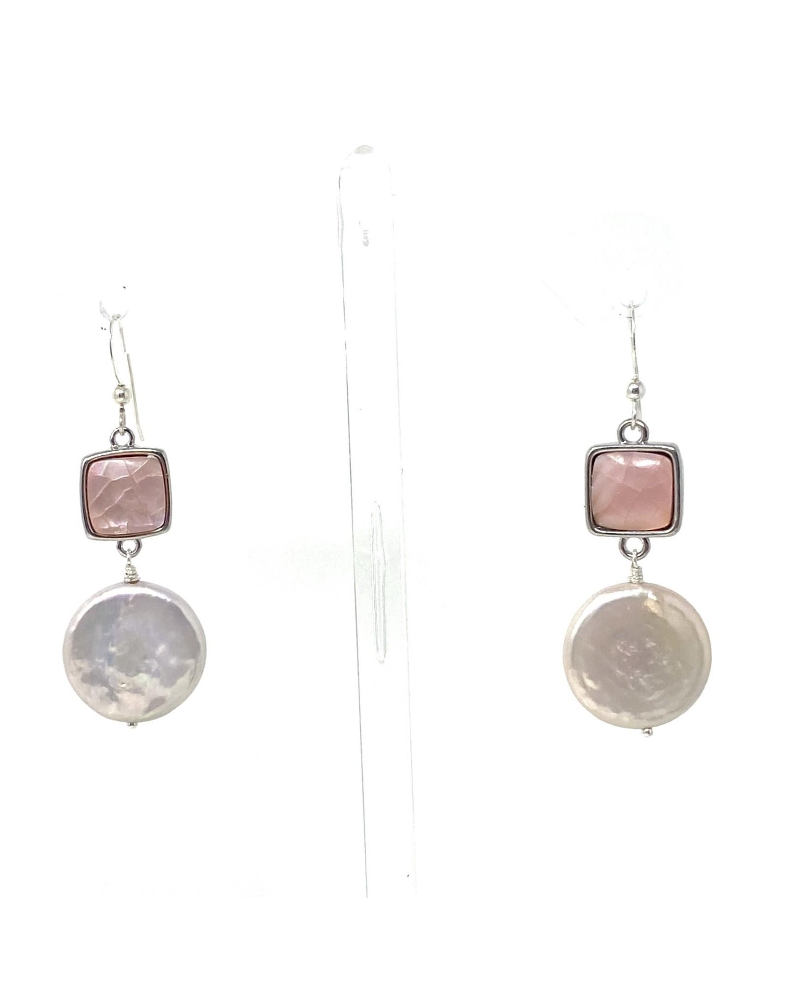 Blush MOP & LG Coin Pearl Earrings
