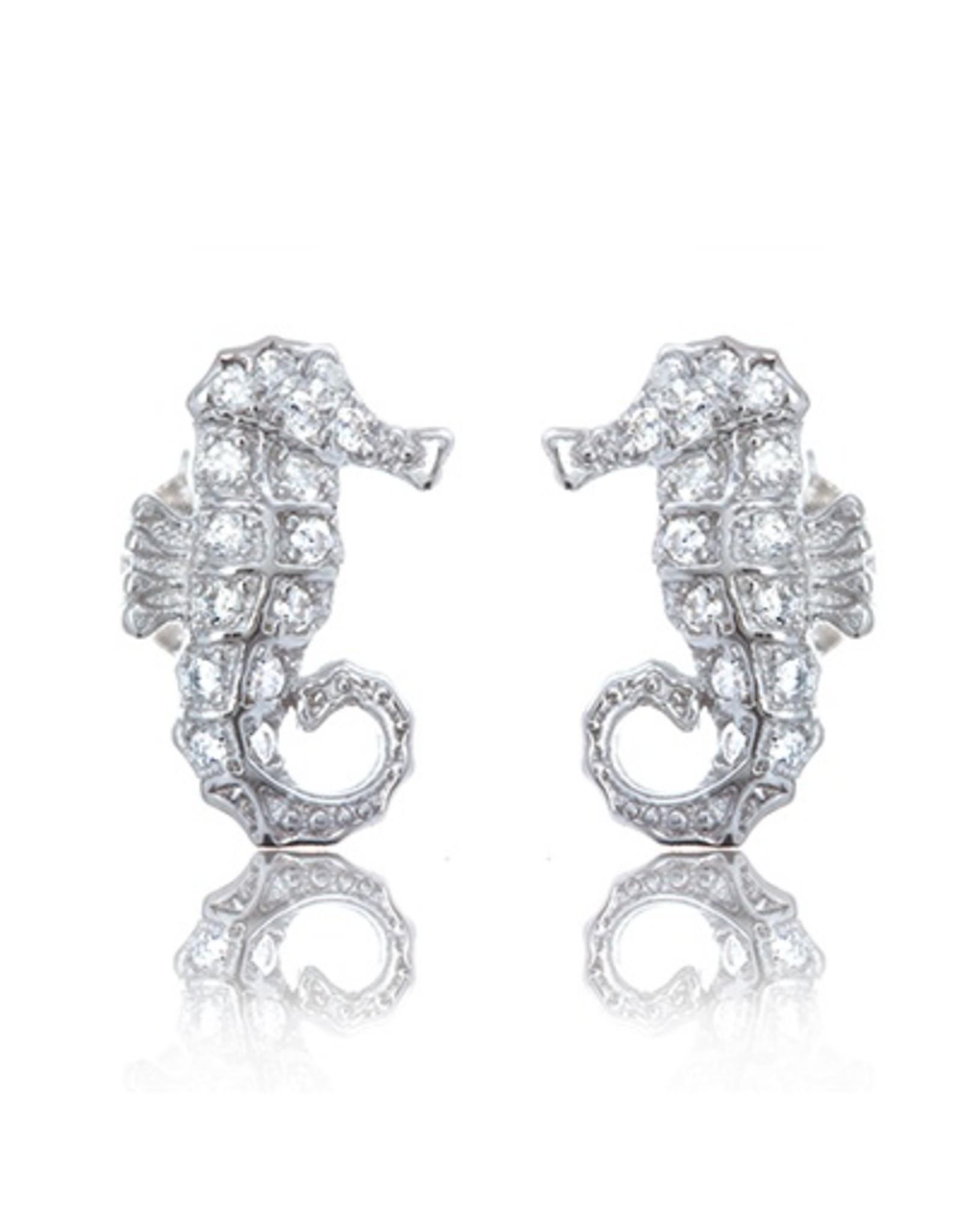 CZ Seahorse Stud Earrings