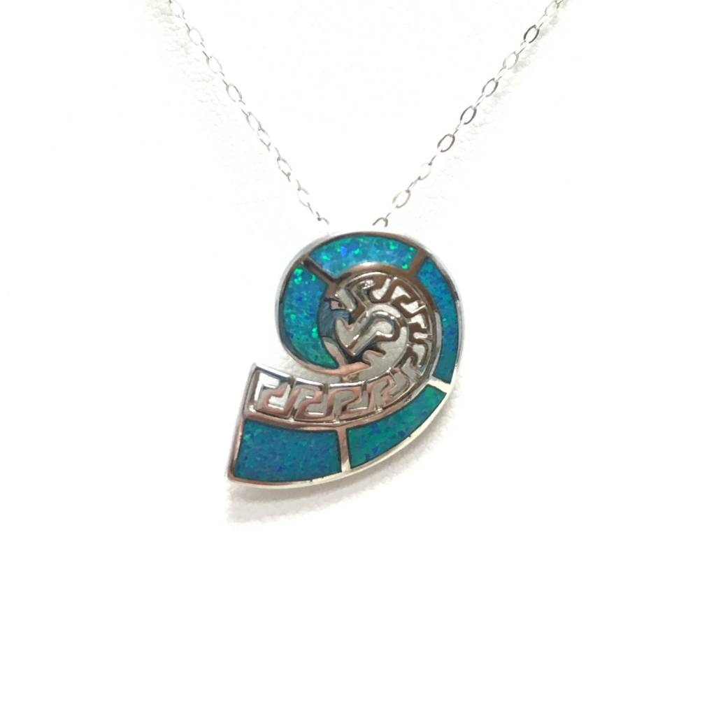 Sterling & Opal Nautilus Pendant