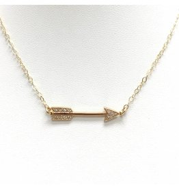 Gold Filled CZ Arrow Necklace