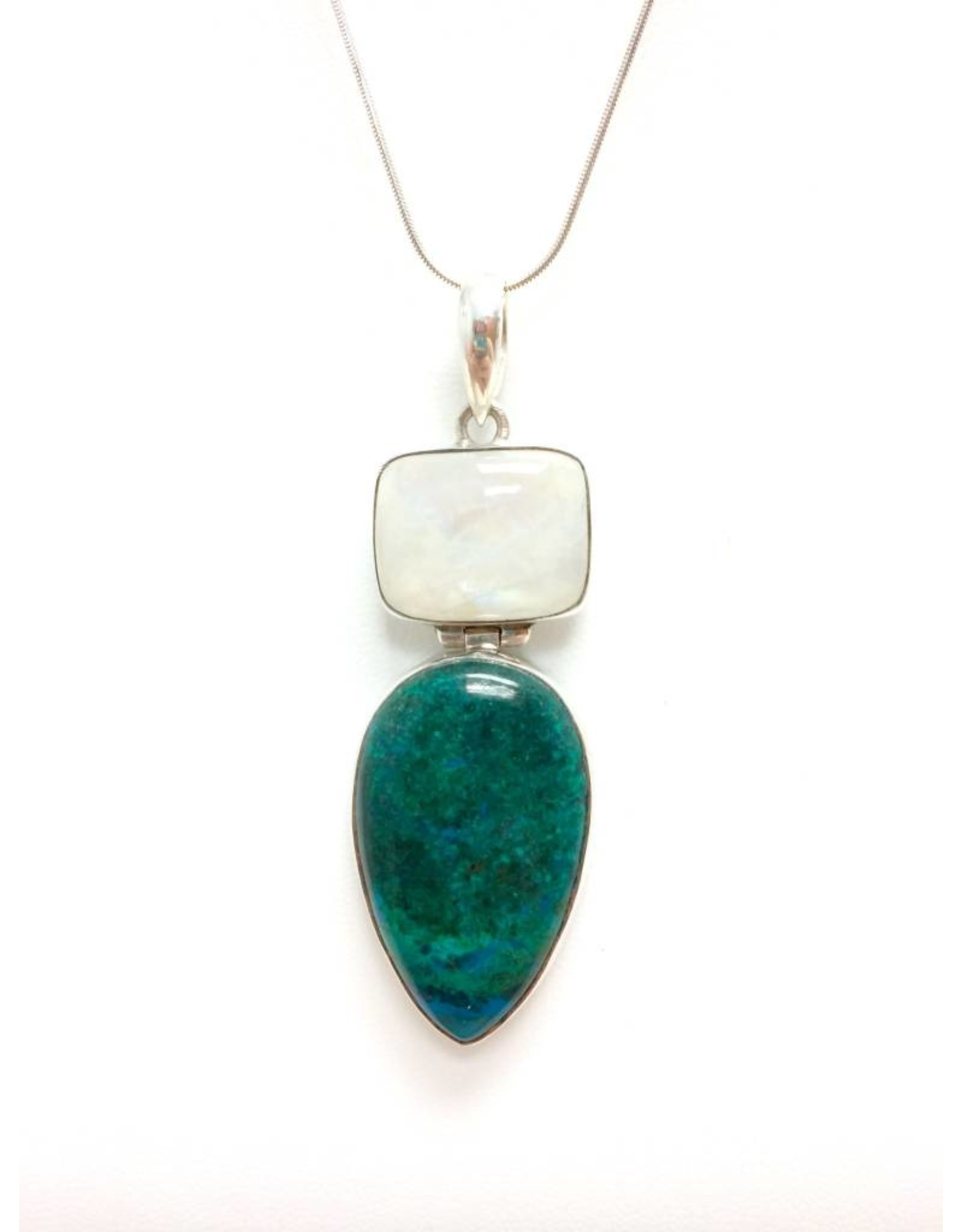 Frosted Opalite Chrysocolla Pendant