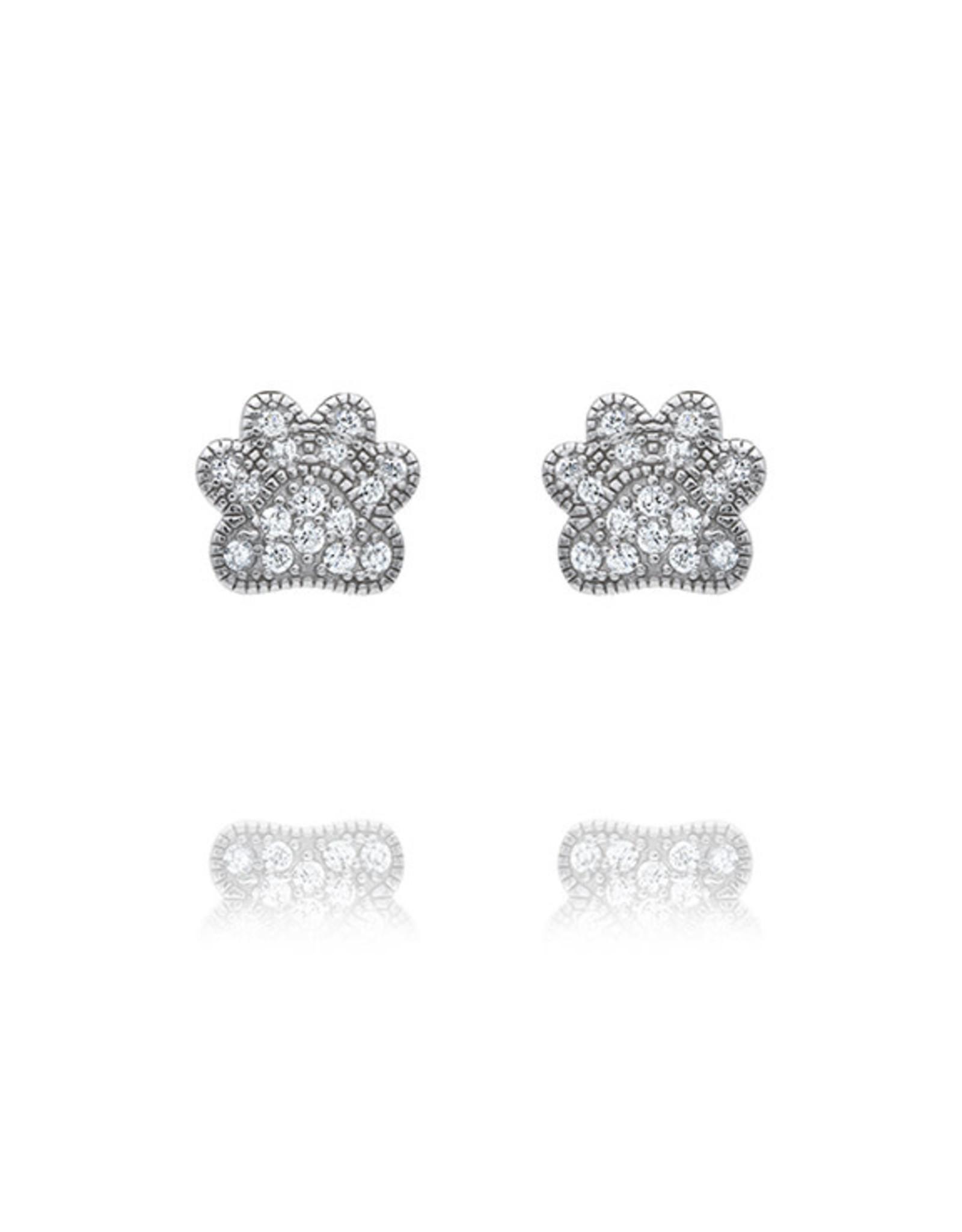 CZ Paw Print Earrings