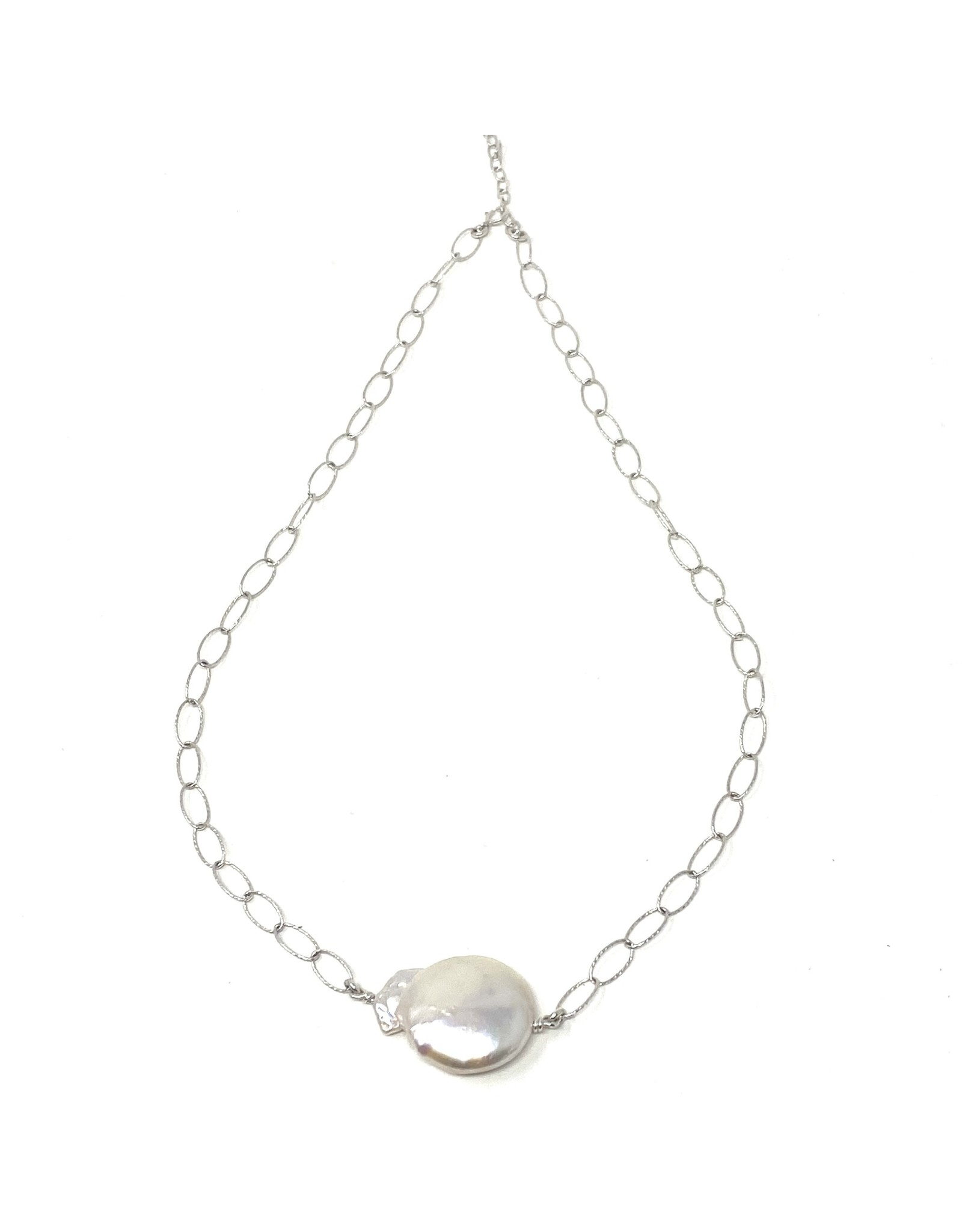 Large Keshi Pearl on Dia Cut Chain