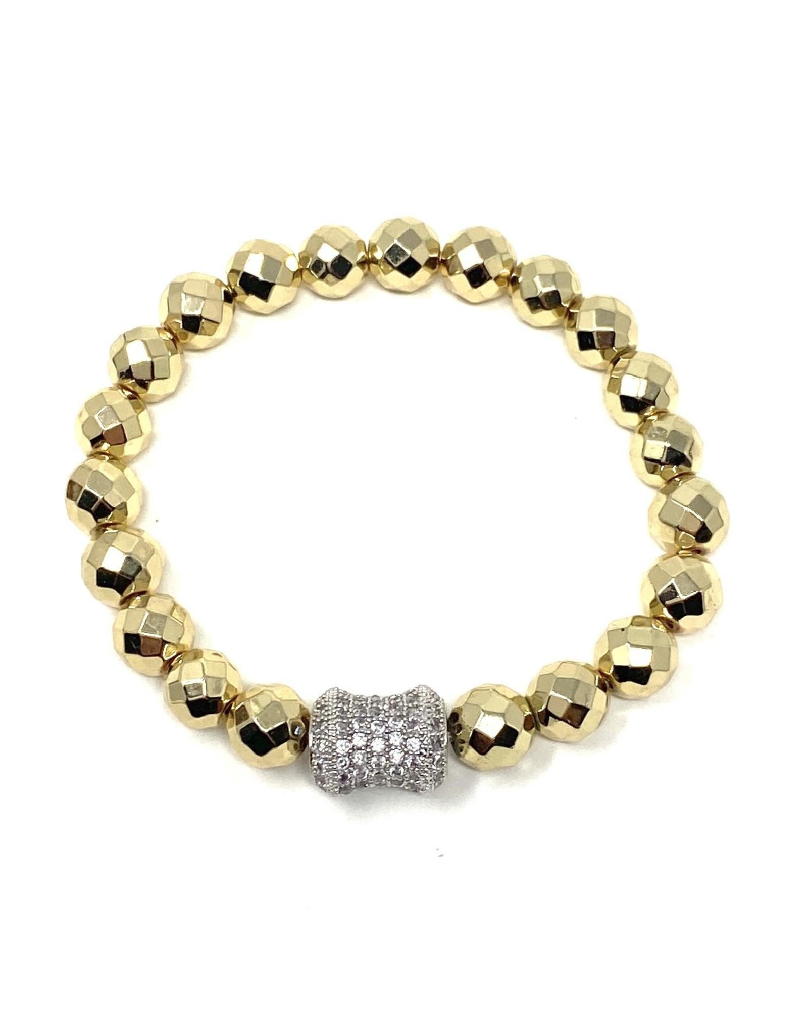 GD Hematite & Silver CZ Barrel Bracelet