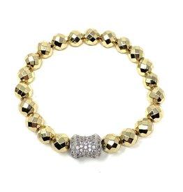 Hematite & Silver CZ Barrel Bracelet
