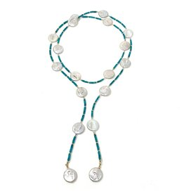 Natural Turquoise & LG Coin Pearl Lariat
