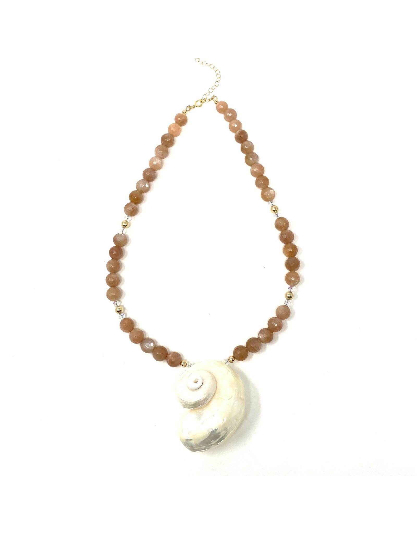 Round Sunstone & Nautilus Necklace