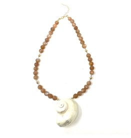 Round Sunstone & Nautilus Necklace
