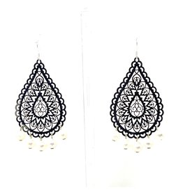 Silver Filigree & Pearl Drop Earrings