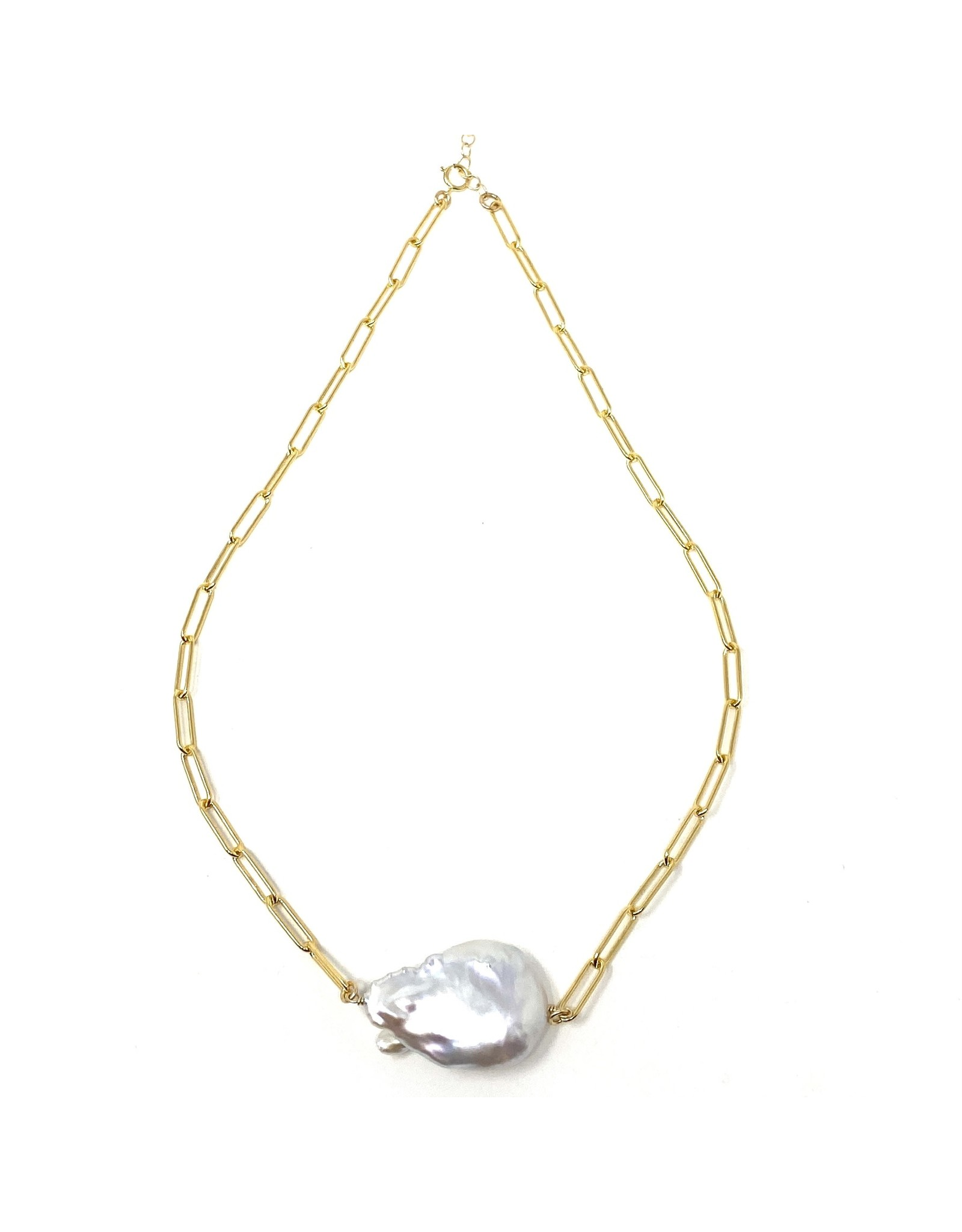 GF Paperclip Chain & Keshi Pearl
