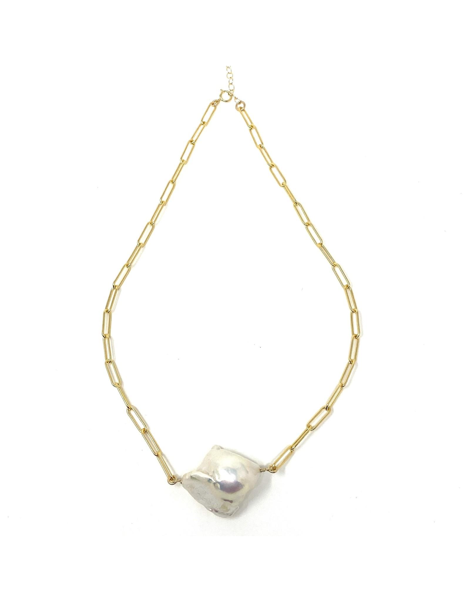 GF Paperclip Chain & Baroque Pearl