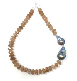 Moonstone & Peocock Baroque Pearl Necklace