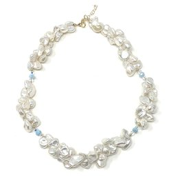 Biwa Pearl & Larimar Necklace