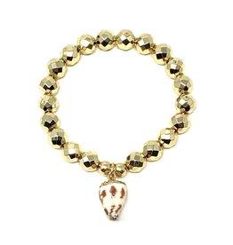 SM Gold Hematite & Shell Bracelet
