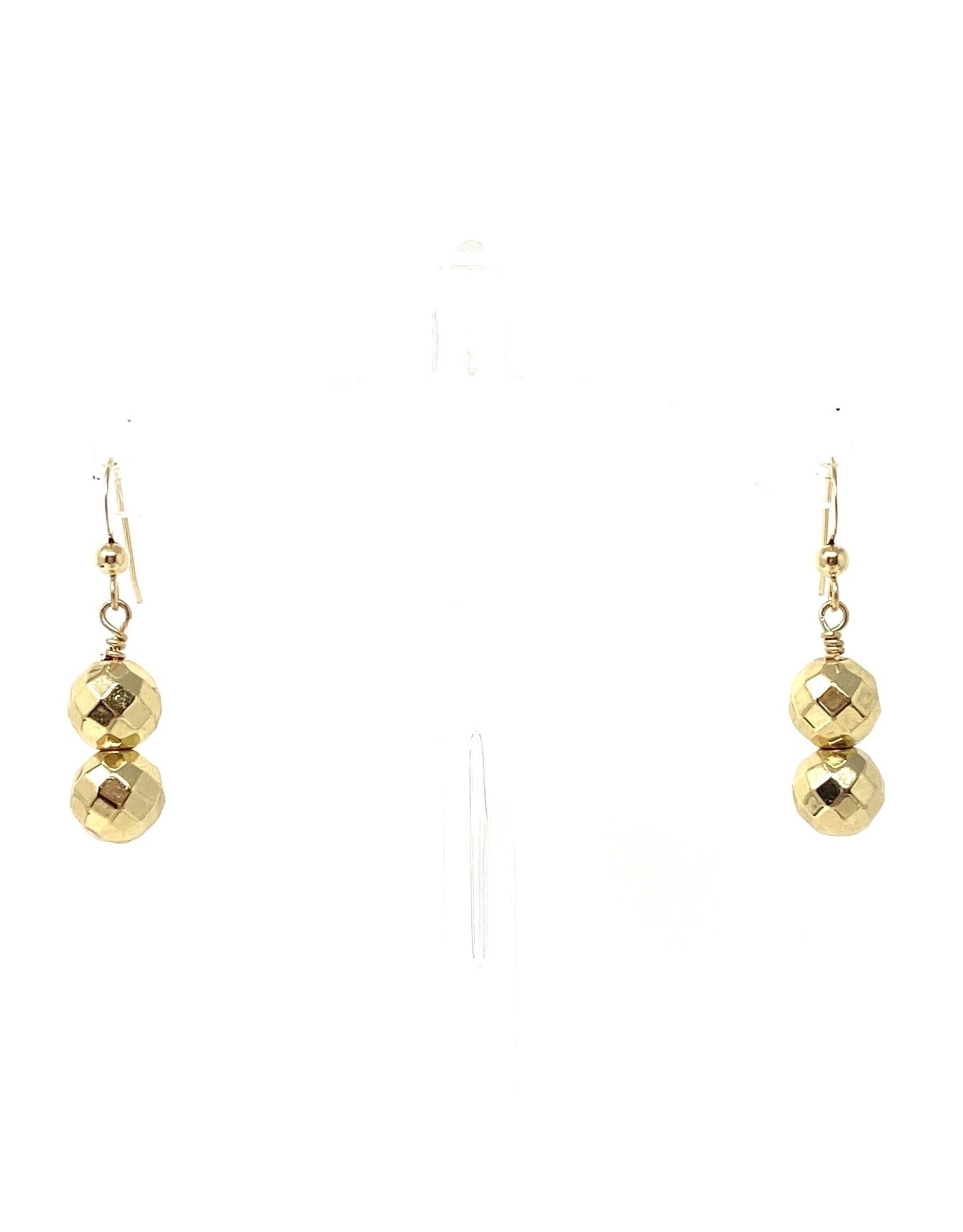 Double Gold Hematite Earrings