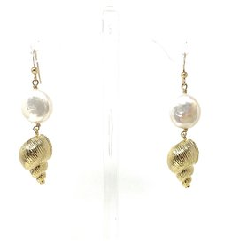 Coin Pearl & Vermil Shell Earrings