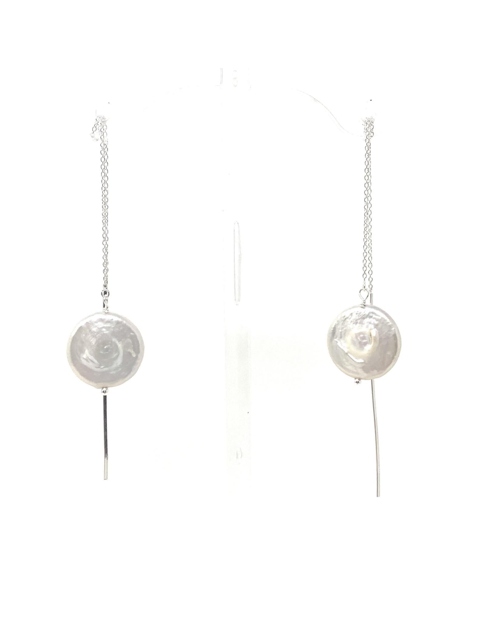Lustre Coin Pearl Threader Earrings