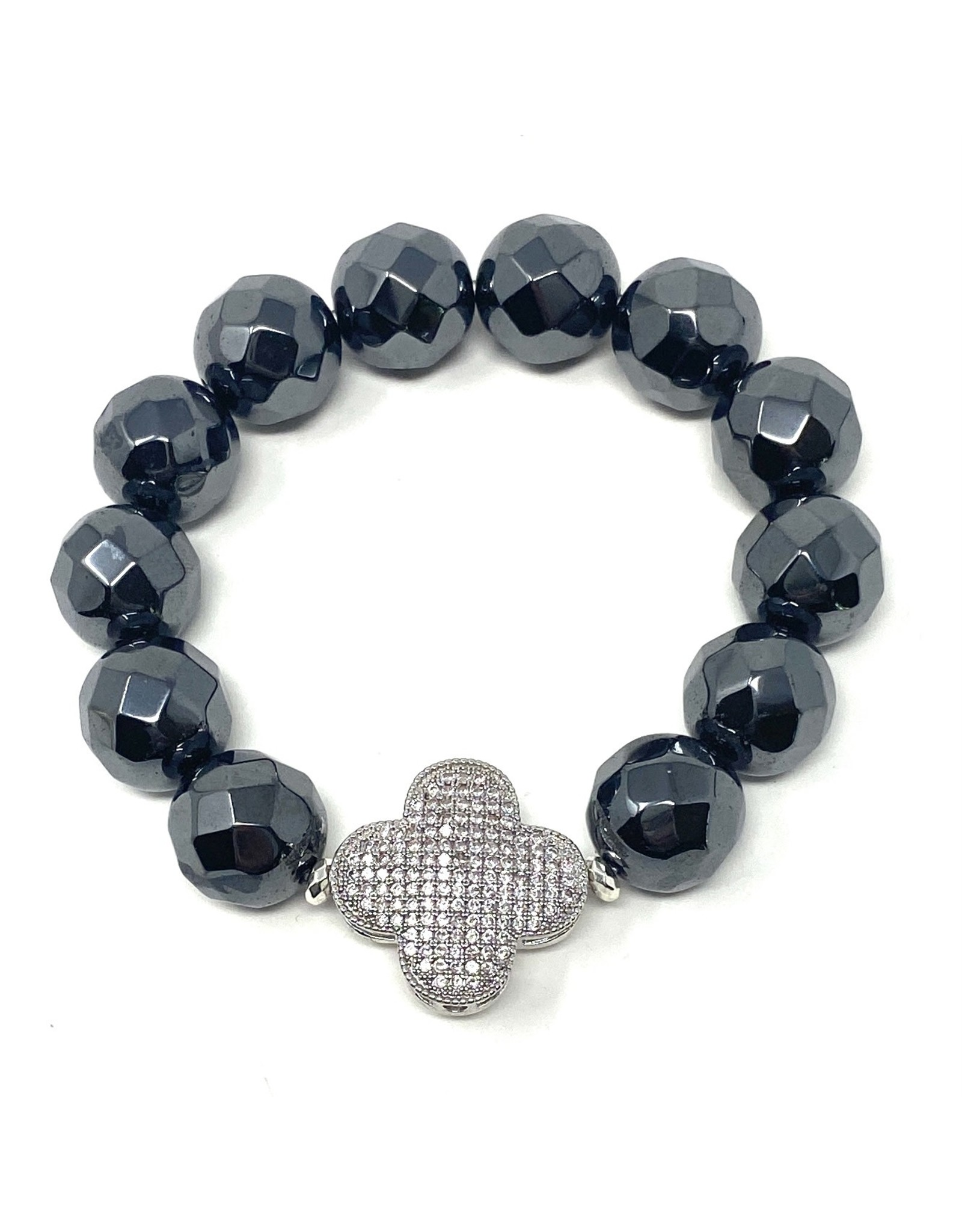 Hematite & Silver CZ Clover Bracelet