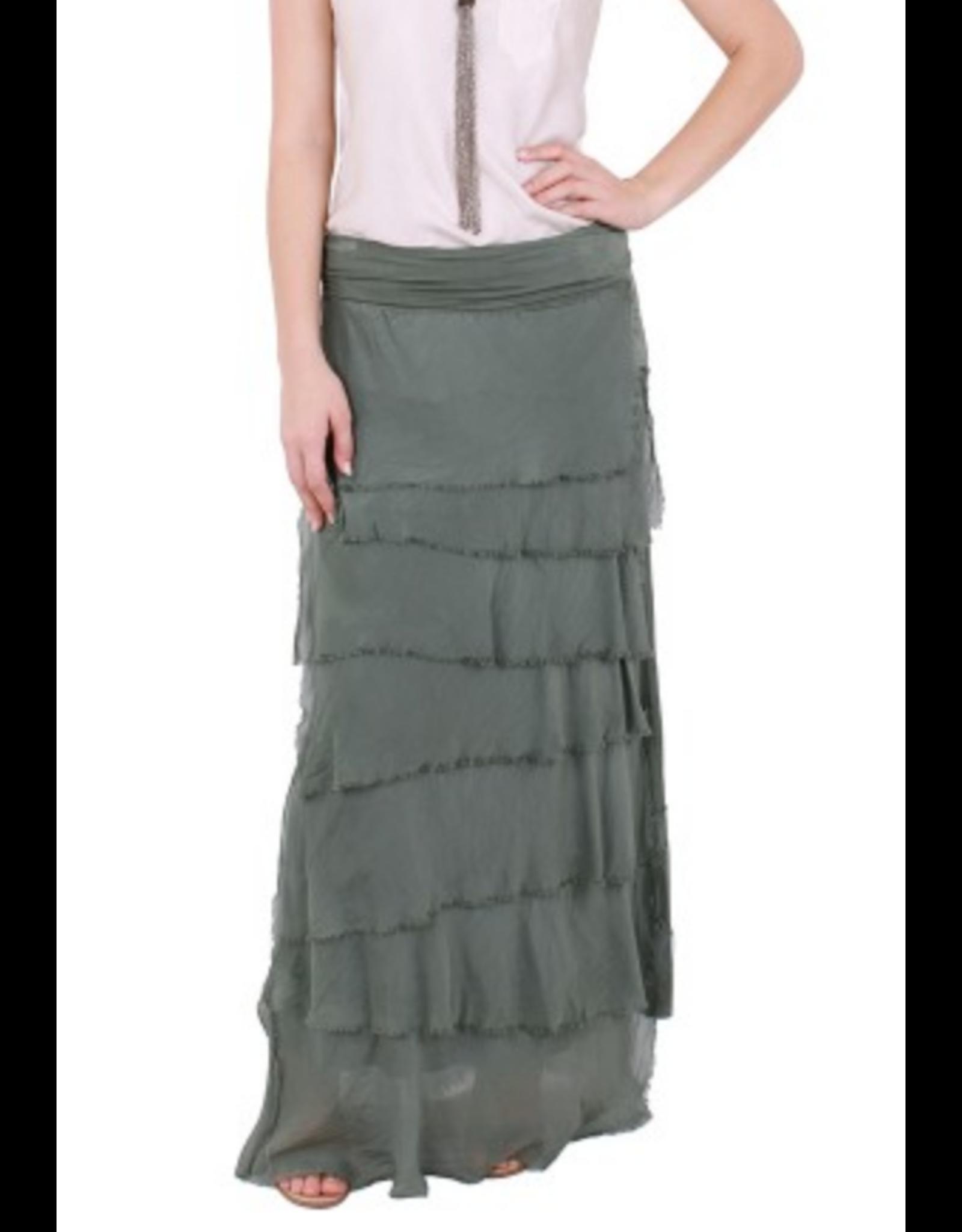 Army Flutter Maxi Skirt