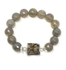 Grey Agate & Druzy Agate Bracelet