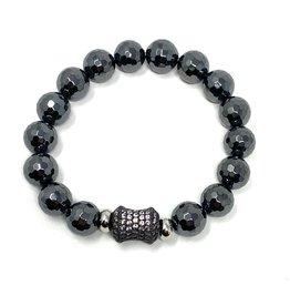 Hematite & Black CZ Barrel Bracelet